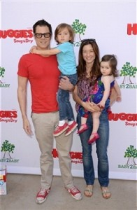 Johnny Knoxville and his wife Naomi with his twins Rocco & Arlo at the Baby2Baby event in LA