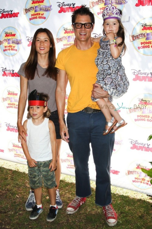 """Johnny Knoxville, his wife Naomi Nelson and kids Rocco and Arlo at Disney Junior's """"Pirate and Princess Power of Doing Good"""" tour"""