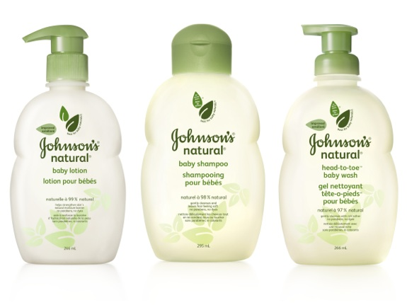 Johnson's Natural baby lotion, baby shampoo and head-to-toe baby wash