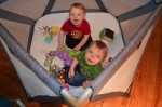 Joovy Moon room with the twins in it