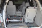 Joovy twin roo folded in the back of mini van