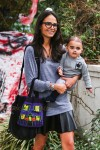Jordana Brewster trick or treating in Brentwood with her son Julian
