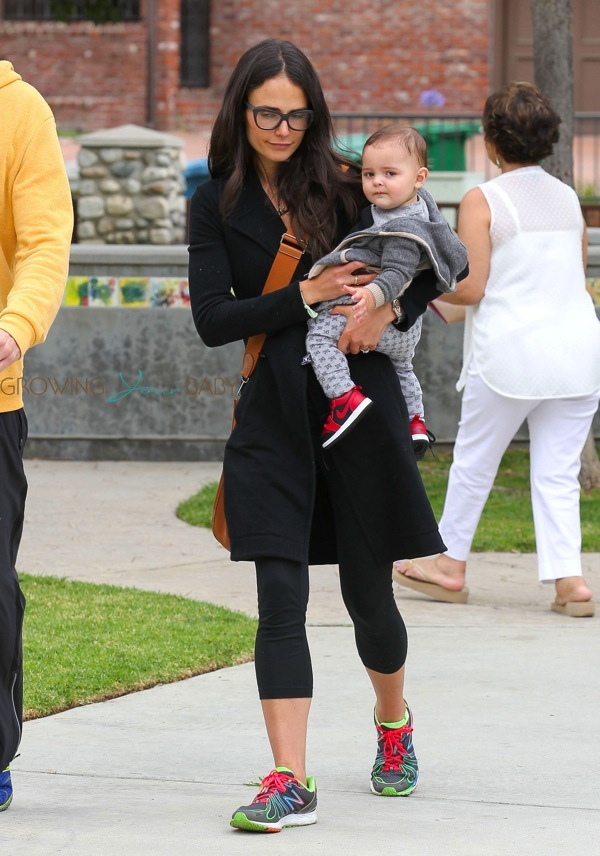 Jordana Brewster With Her Son Julian At The Park Growing