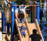 Josh Duhamel at the park with son Axl in  Santa Monic