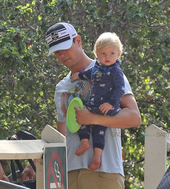 Josh Duhamel at the park with son Axl in Santa Monica