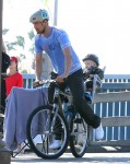 Josh Duhamel enjoys a bike ride with son AXL in LA