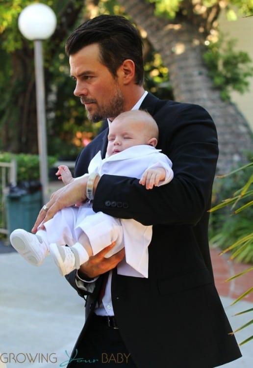 Josh Duhamel with son Axl at his baptism