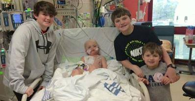 Josh Hardy and his family in the hospital