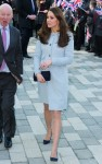 A pregnant Catherine, The Duchess of Cambridge greets students as she officially opens the Kensington Aldridge Academy in London