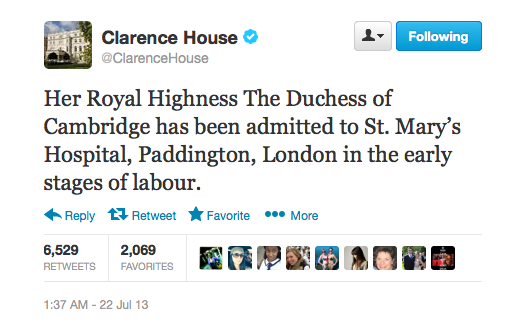 Kate is in labour tweet from the Palace