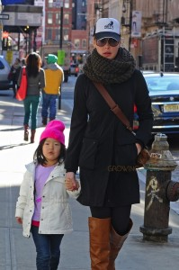 Katherine Heigl out in NYC with daughters Naleigh and Adalaide