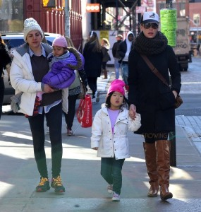 Katherine Heigl takes her girls Naleigh and Adalaide to a play date at Citibaby in New York City