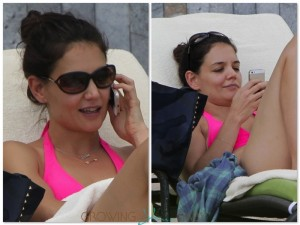 Katie Holmes Chats:Texts poolside in Miami