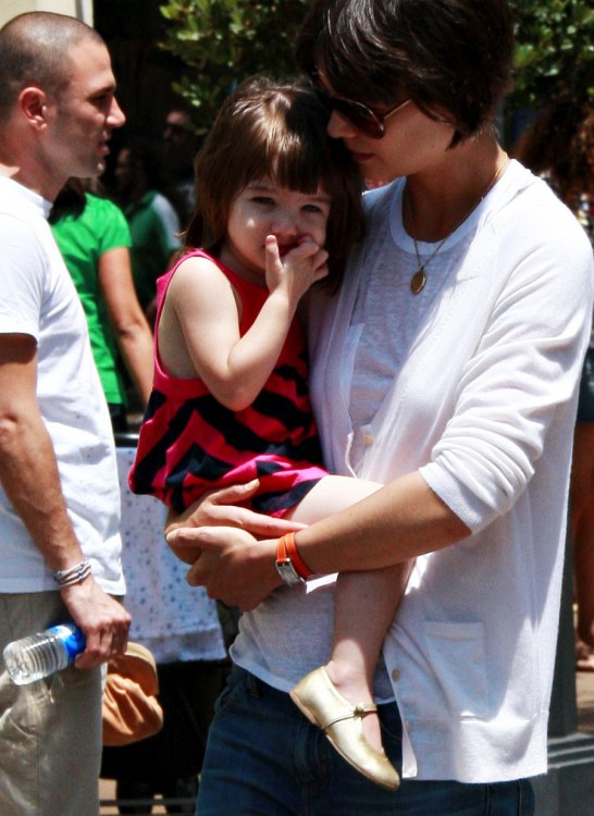 Katie Holmes with daughter Suri at American Girl