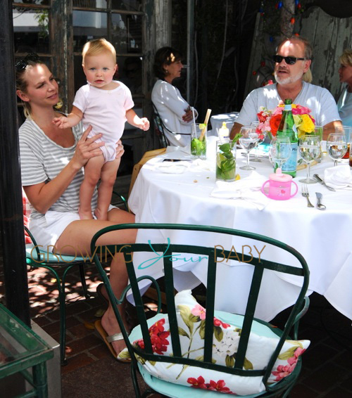 Kelsey Grammer, wife Kayte Walsh and baby Faith Evangeline Elisa at The Ivy