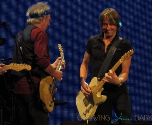 Keith Urban makes a surprise visit onstage as he joins The Rolling Stones for a rousing rendition of Respectable on the opening night of their 50th Anniversary Tour at the Staples Center in Los Angele