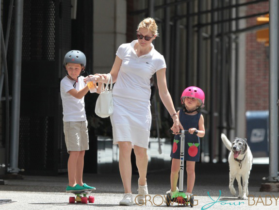 **EXCLUSIVE** Kelly Rutherford is seen out and about with son Hermes, daughter Helena and dog Oliver in New York City