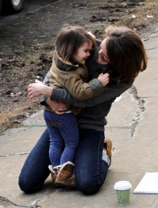 Keri Russell cuddles her daughter Willa Dreary on the set of the Americans