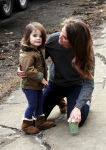 Keri Russell cuddles her daughter Willa on the set of the Americans