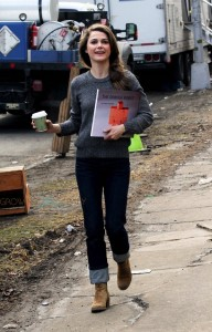 Keri Russell on the set of the Americans