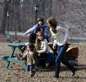 Keri Russell plays with her daughter Willa Dreary on the set of the Americans