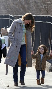Keri Russell with her daughter Willa Dreary on the set of the Americans