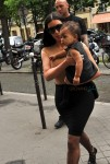 Kim Kardashian with daughter North West in Paris