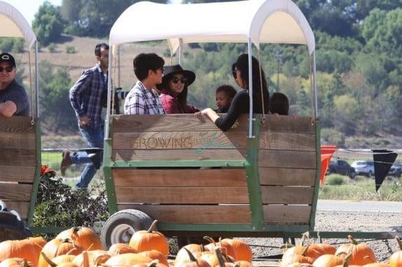 Kim and Kourtney Kardashian at Moorpark Farm  with their kids and mom