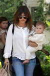 Kourtney Kardashian takes her daughter Penelope Scotland Disick to a kids class after having lunch with her Pregnant sister Kim Kardashian at Cecconi's restaurant in Los Angeles