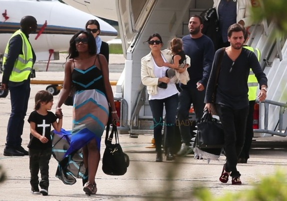 Kourtney Kardashian and Scott DIsick arrive in France with kids Penelope and Mason