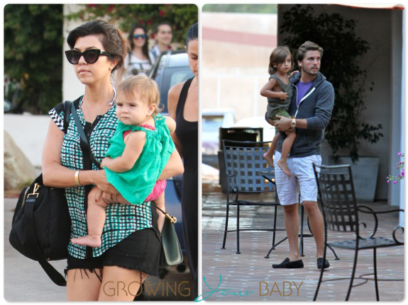Kourtney Kardashian and Scott disick out for dinner with their kids Penelope and Mason