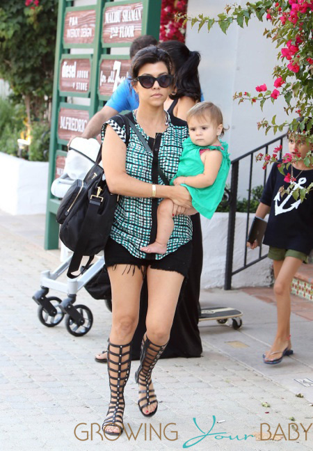 Kourtney Kardashian seen with her daughter Penelope at Taberna restaurant in Los Angeles
