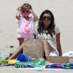Kourtney Kardashian at the beach with daughter Penelope