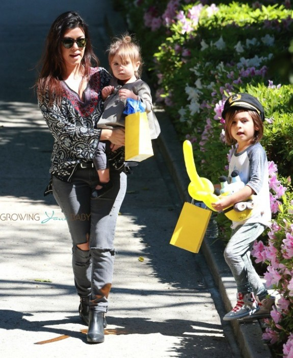 Kourtney Kardashian leaves a birthday party in  LA with her kids Mason and Penelope