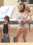 Kourtney Kardashian with kids Penelope and Mason in Cabo