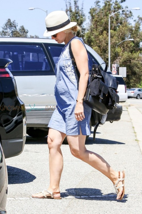 Kristen Bell shows off her growing belly during a trip out in LA