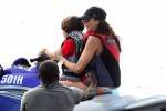 Lauren Silverman jetskis in Barbados with son Adam