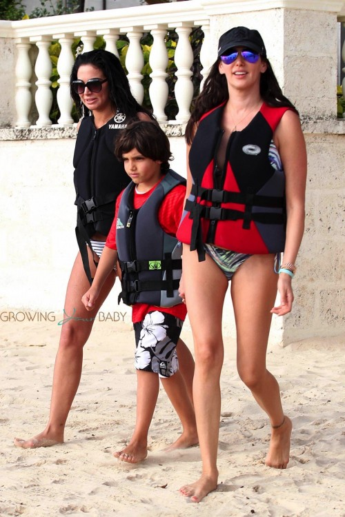 Lauren Silverman on the beach in Barbados with son Adam