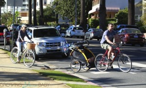 Liev Schreiber and Naomi Watts bike to the beach with their boys