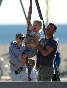 Liev Schreiber and Naomi Watts with sons Samuel & Sasha Schreiber at the beach in LA