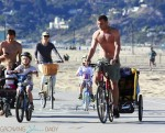 Liev Schreiber and Naomi Watts with sons Samuel and Sasha Schreiber at the beach in LA