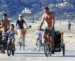Liev Schreiber and Naomi Watts with sons Samuel and Sasha Schreiber at the beach in LA