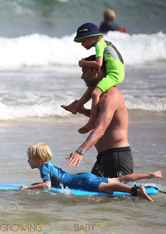 Liev Schreiber at the beach in Sydney with sons Sacha and Samuel