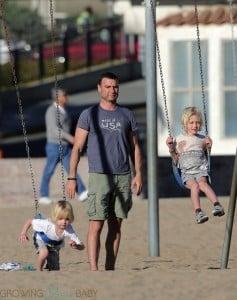 Liev Schreiber at the beach with son Sasha and Sammy