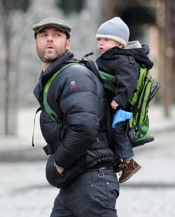 Liev Schreiber backpacks his son ALexander