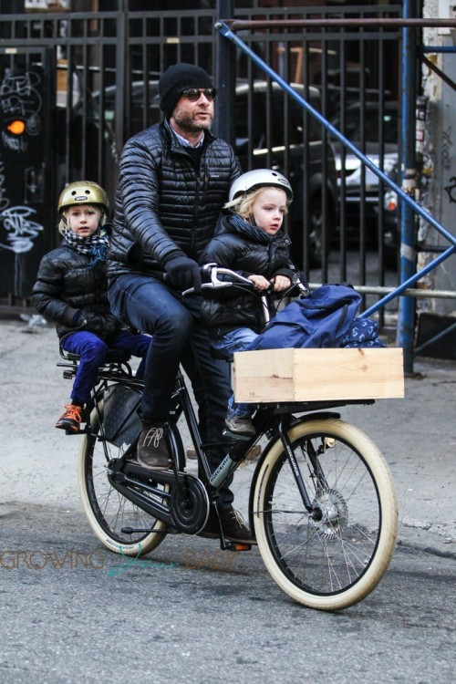 Liev Schreiber out in New York City with his sons Sam and Sasha