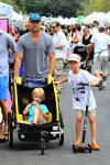 Liev Schrieber at the Brentwood Market with his sons Sam and Sasha