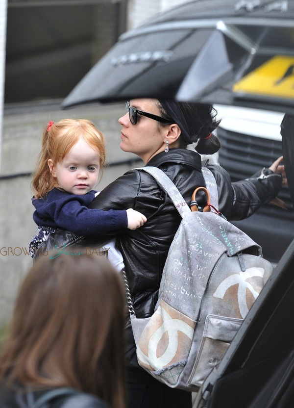 Lily Allen Out With Daughter Ethel Cooper on baby car seat stroller