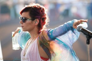 Lily Allen rehearses at Latitude Festival