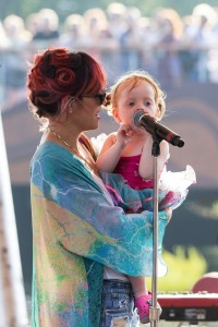 Lily Allen with her daughter Ethel rehearsing for Latitude Festival